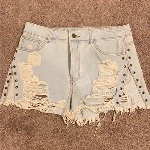 Split Leg Jean Shorts